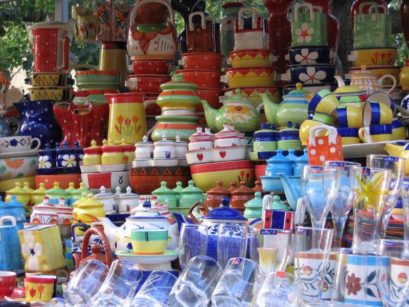 Sunday morning at a small, yet busy crockery store